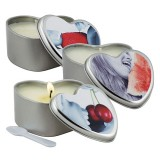 Earthly Body 3 in 1 Edible Massage Heart Candle - Cherry